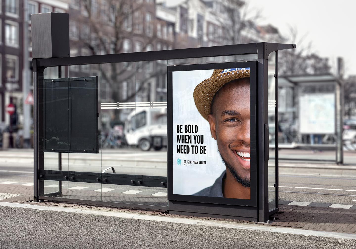 Bus stop advertising for business brand design